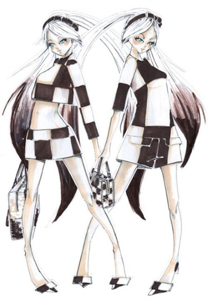 Louis Vuitton's sketches for Hatsune Miku's outfit  Photo is by Louis Vuitton