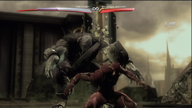 Solomon Grundy's SUPER MOVE involves smashing a guy with a tombstone
