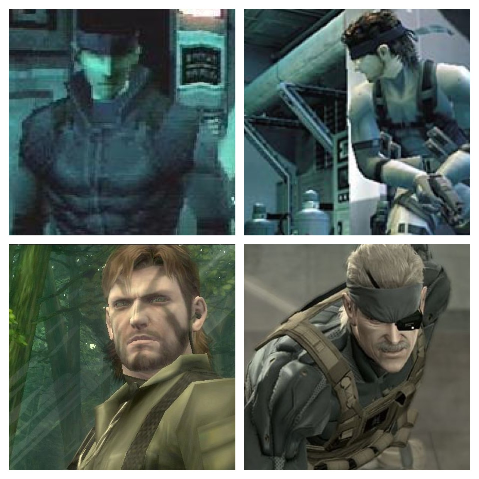 (L-R, U-D) Solid Snake (MGS), Solid Snake (MGS2), Naked Snake/Big Boss (MGS3), Old Snake/Solid Snake (MGS4)