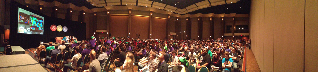 a packed room for the Mario Party After Dark panel