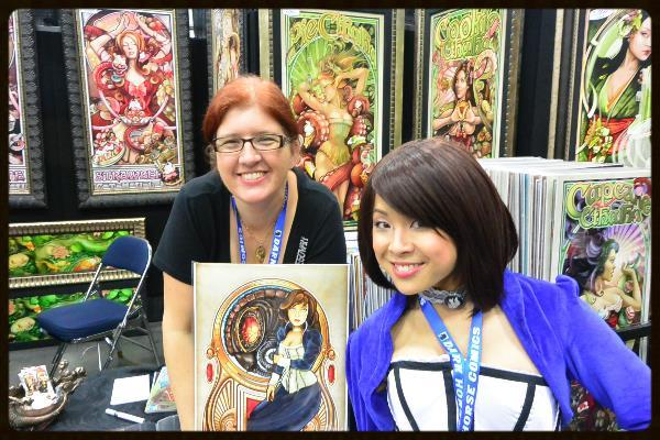 Riri with Echo Chernik and her Art Nouveau Elizabeth poster