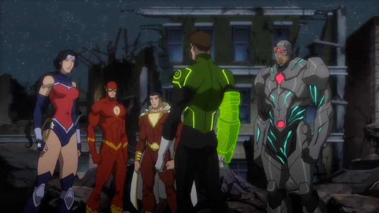 (L-R) Wonder Woman (WTF is up with her costume?!? cue nerd rage), The Flash, Shazam (WHY ISN'T AQUAMAN HERE! cue more nerd rage), Green Lantern, and Cyborg.