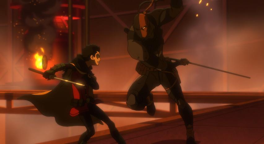 Deathstroke battling Damian in full Robin regalia