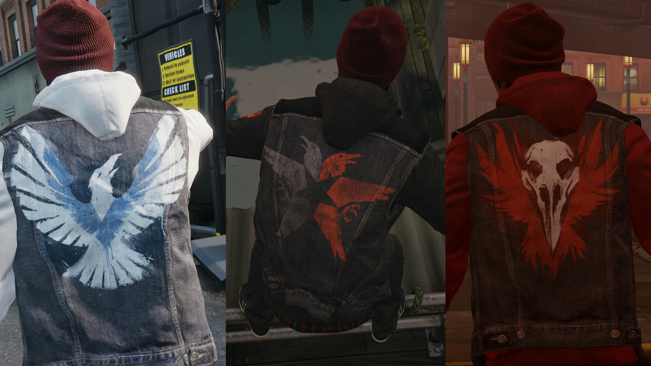 a handy image showing the design placement for true hero (left), neutral (middle) and infamous (right)