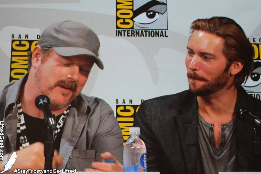 John DiMaggio and Troy Baker at the Assault on Arkham panel