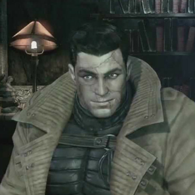 "Hush wearing a constructed ""Bruce Wayne"" face"