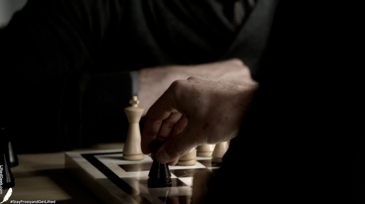 The chess theme sticks throughout the whole episode