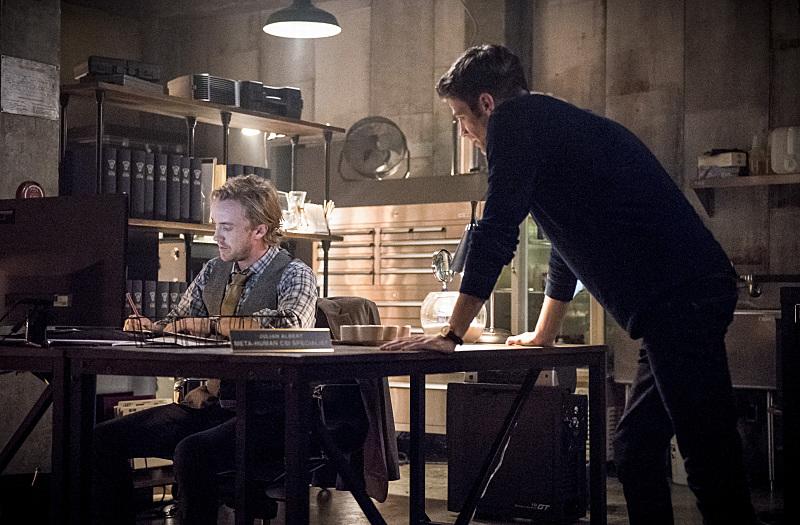 Barry Allen with Tom Felton's Julian Albert, new this season