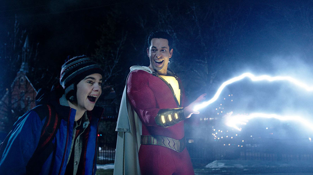 Freddy (Jack Dylan Grazer) and Shazam'd Billy (Zachary Levi) test out the limits of his powers
