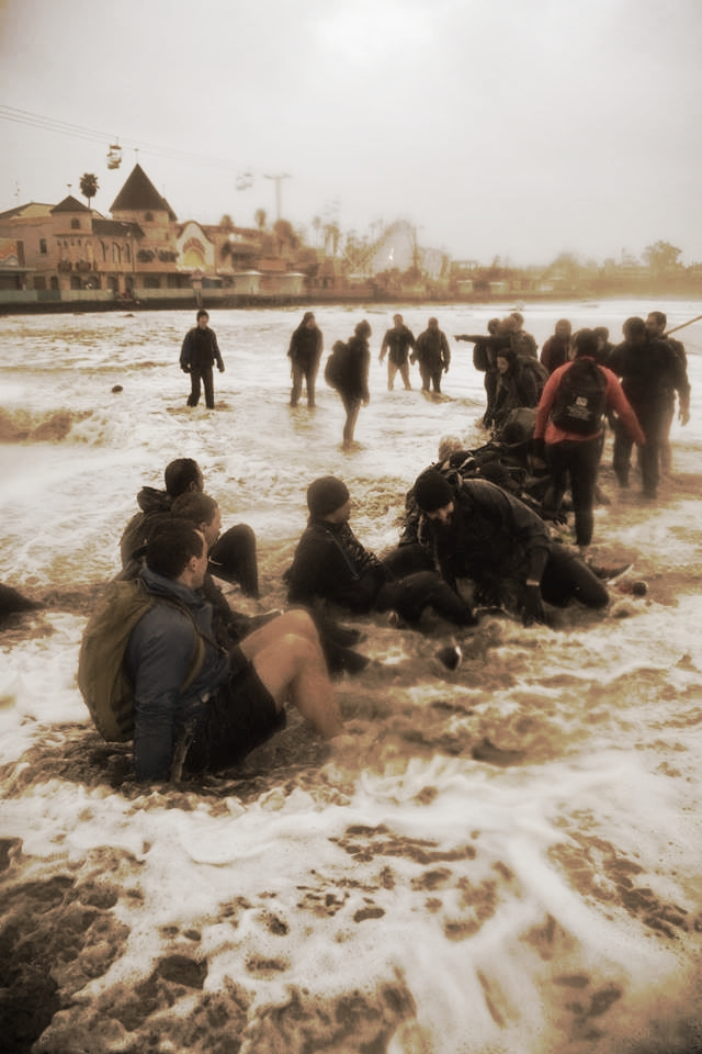 "Apparently there was this massive rogue wave that hit our GoRuck crew while taking a dip. I hope next time they heed the tide warnings! Michaela is in the back saying, ""What the f&*@ just happened? This is BULL$%!T!"". Props to these fellow rucktards for this unforgettable experience!"