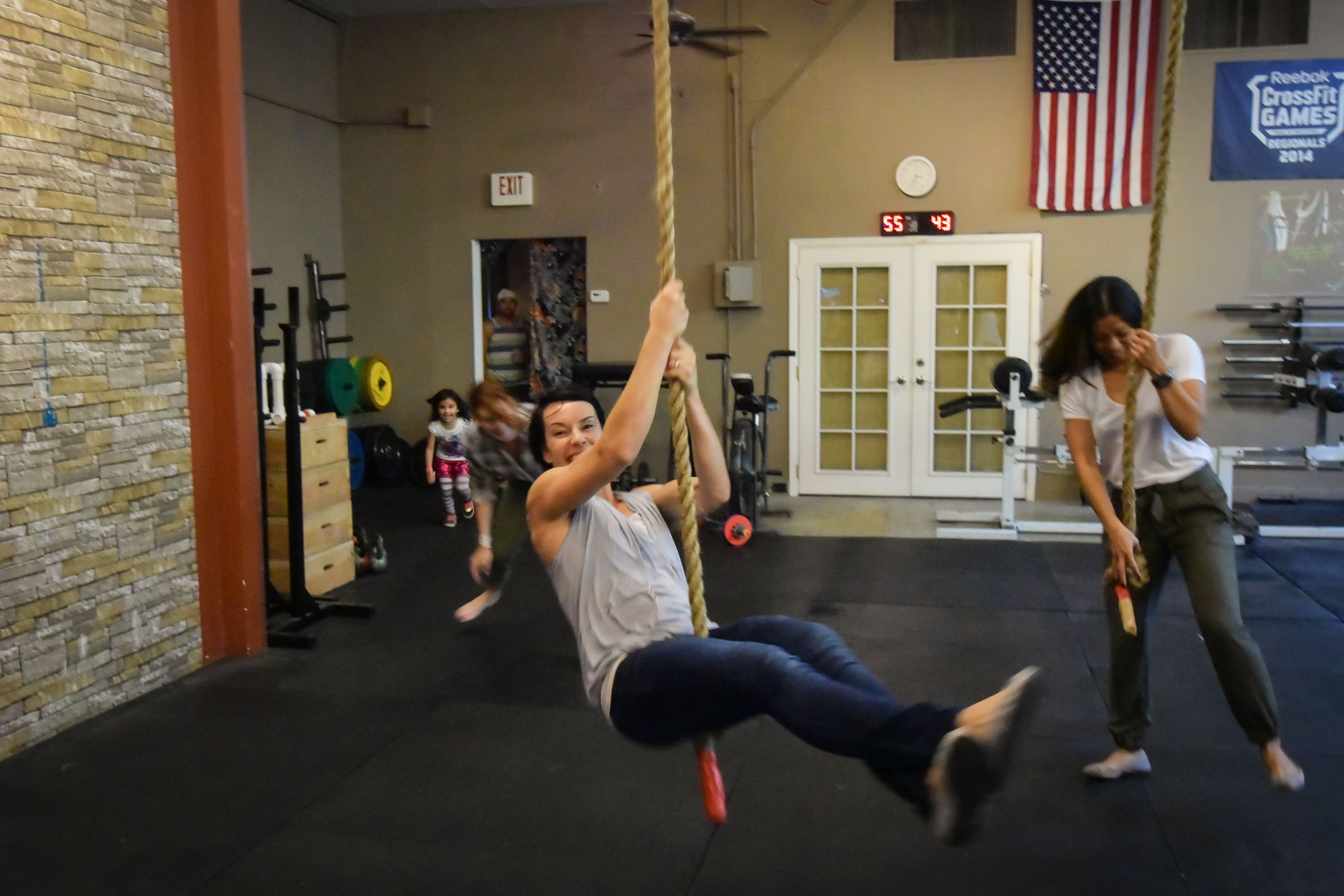 Coach Michaela knows how to have fun. Learning a swinging L-sit rope climb does not have to be all up tight unless we are talking about your core!