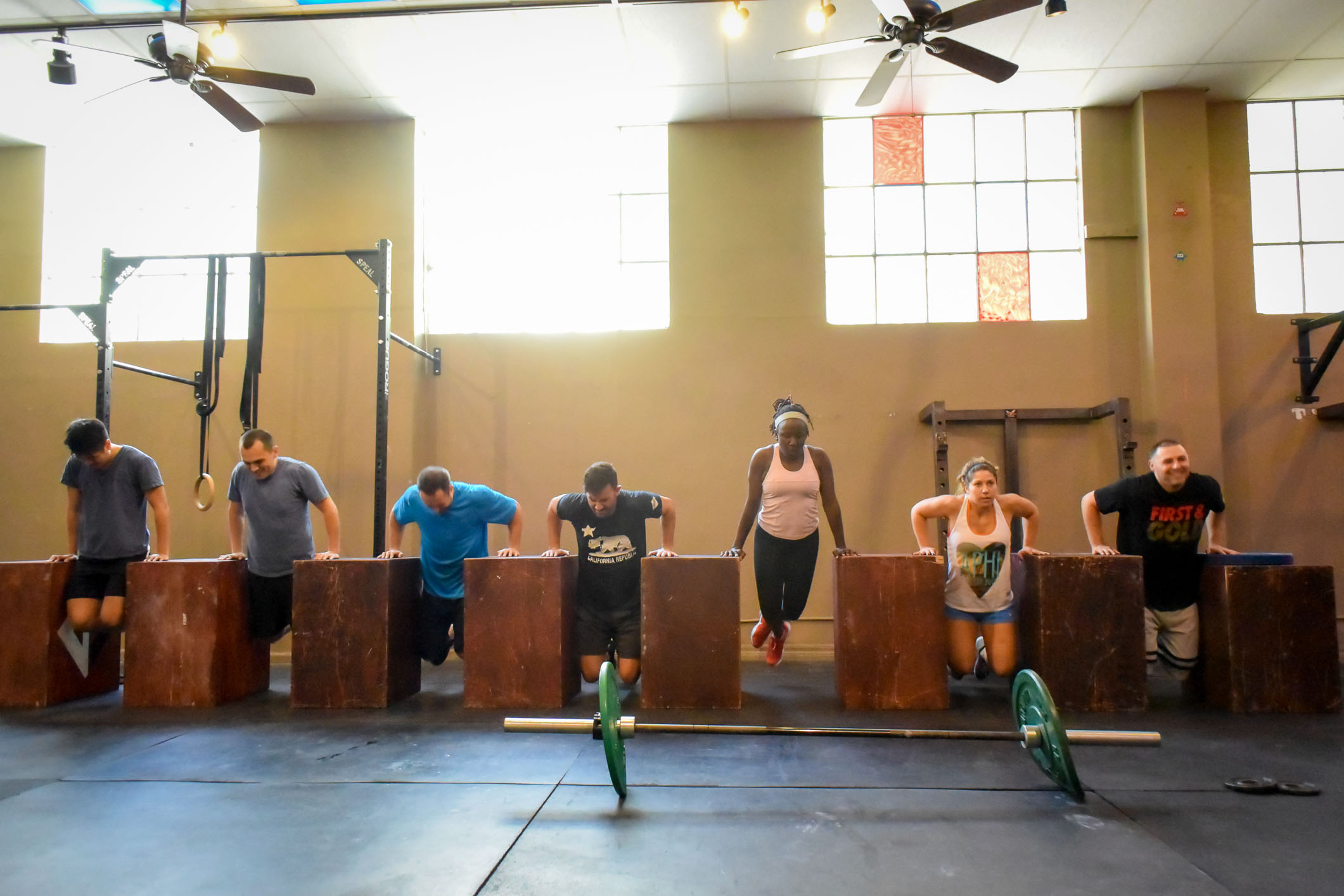 Noon class having fun with BOX DIPS under bright sunlight beaming through the windows. Michaela and I love coaching and working out at CrossFit Silicon Valley!
