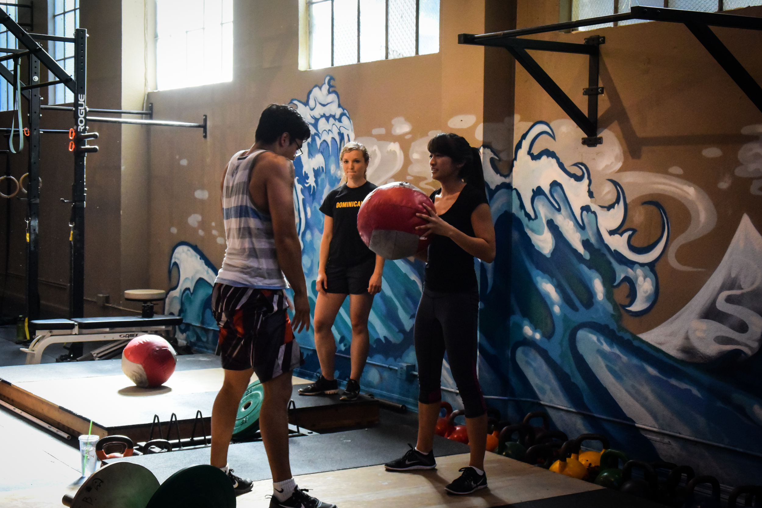 """Before throwingballs to the wall a-la """"Karen"""" WOD, we first learn how to  clean  a medball! Thank you, coach Raymond for introducing sound CrossFit fundamentals to new CFSV athletes!"""