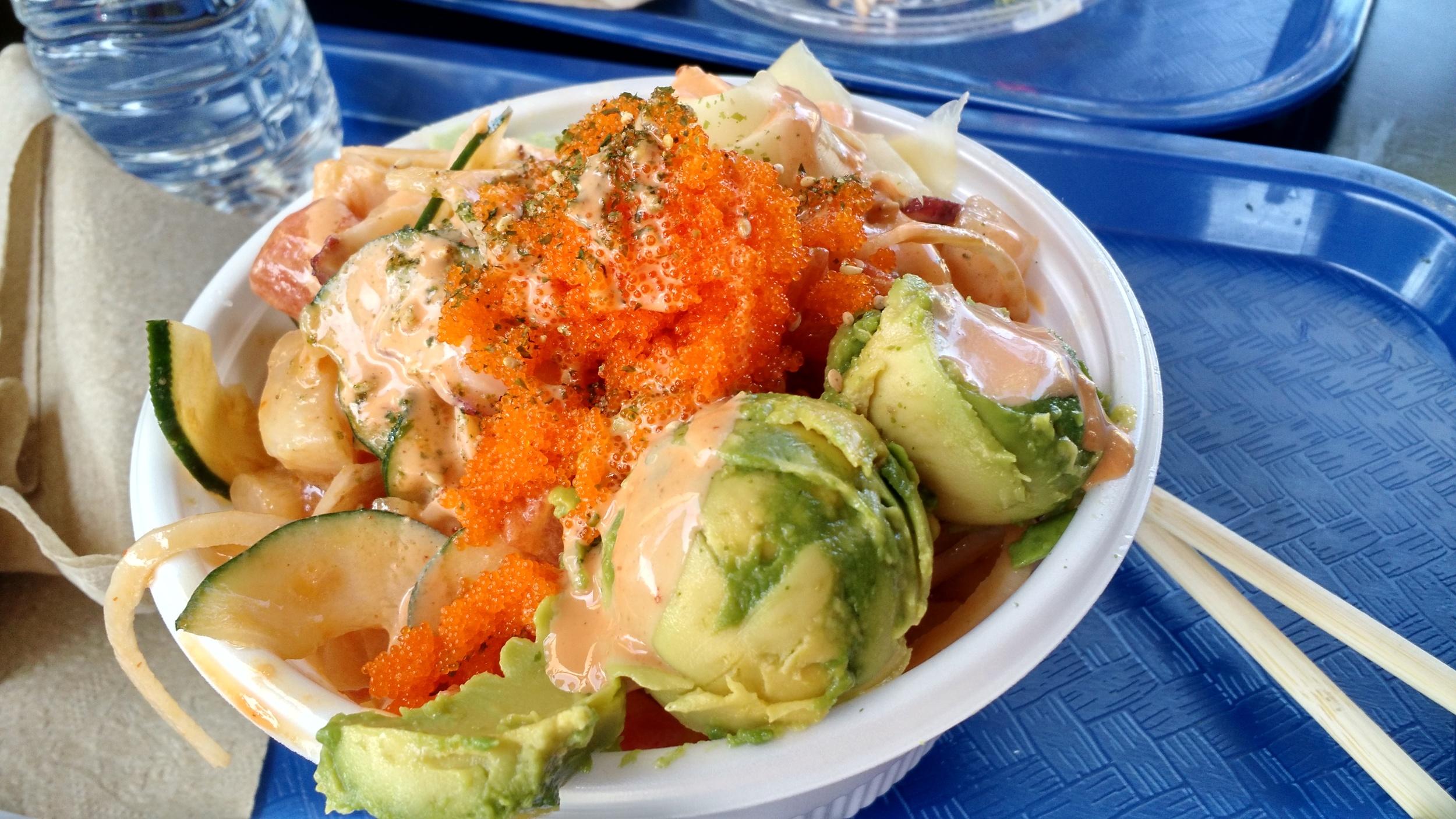 4 Blocks @ Poki Bowl on Almaden Expressway: 6 oz fish, 4 tbsp avocado, 3/4 cup rice+ cucumber +sauce