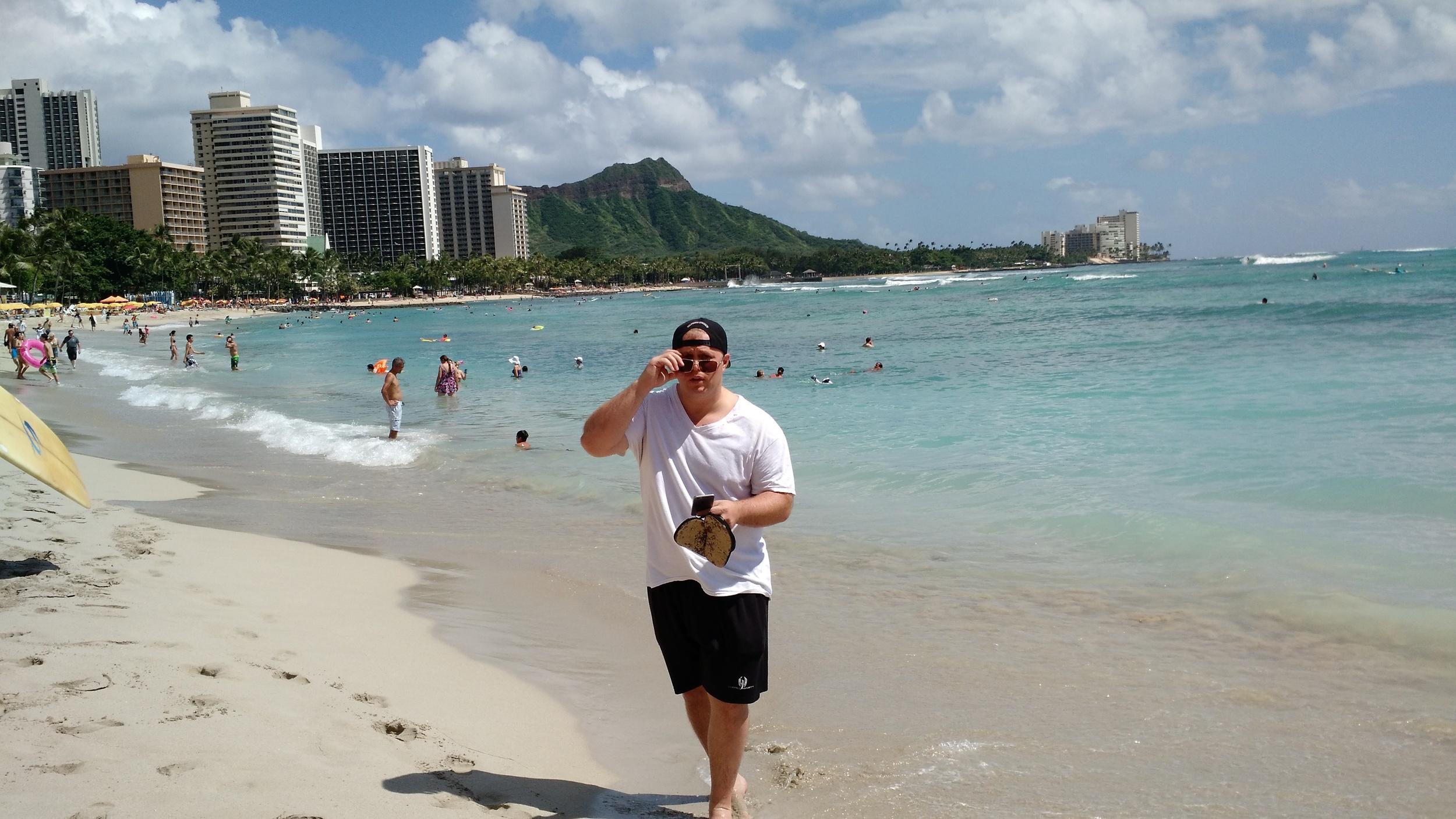 Kaleo had pupus in Poipu after wading in Waikiki!