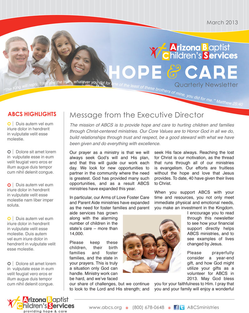 Arizona Baptist Children's Services   worked with us to create a newsletter template, brochures, and various infographics.