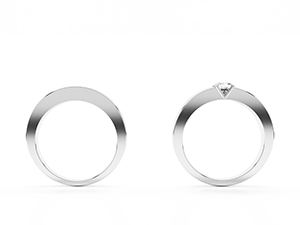 Sylvie wedding band and engagement ring. Made in 14K or  18K white gold and diamond starts in 0.40 ct.
