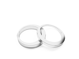 Sylvie wedding bands. Made in 14K or 18K white gold.