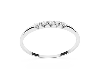 Sylvie five stone diamond wedding ring. Made in 14K or 18K white gold.