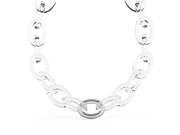 The Clear necklace. 23 handmade links give shape to this necklace.