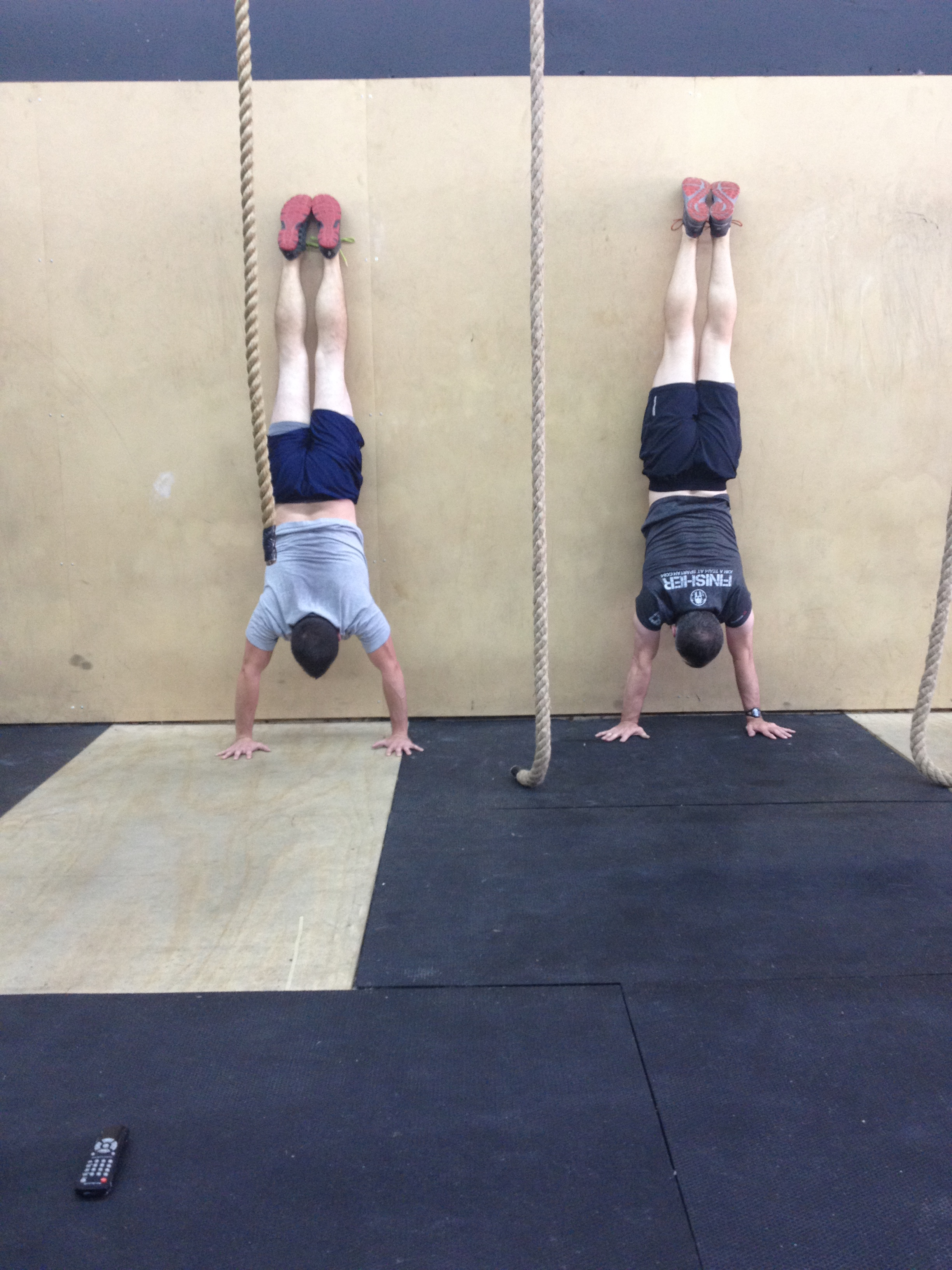 Seb and David showing great handstand endurance.