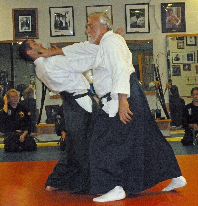 Demonstrating tessen with Ken Jeremiah, at Don Culp's Karate Studio, RI.
