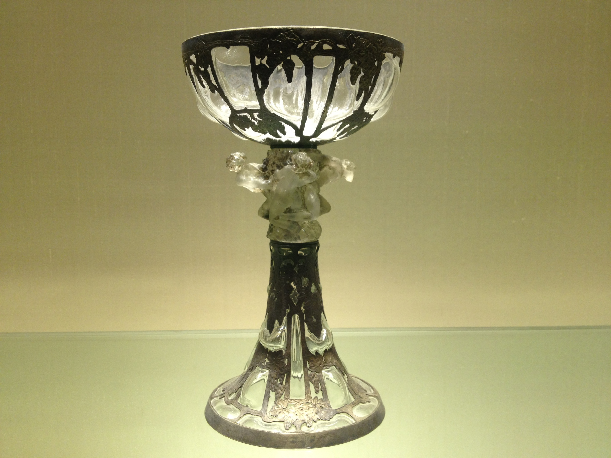 "Rene Lalique ""Grapevine Goblet"" c. 1898-1900 Nickel, glass, ivory and enamel"