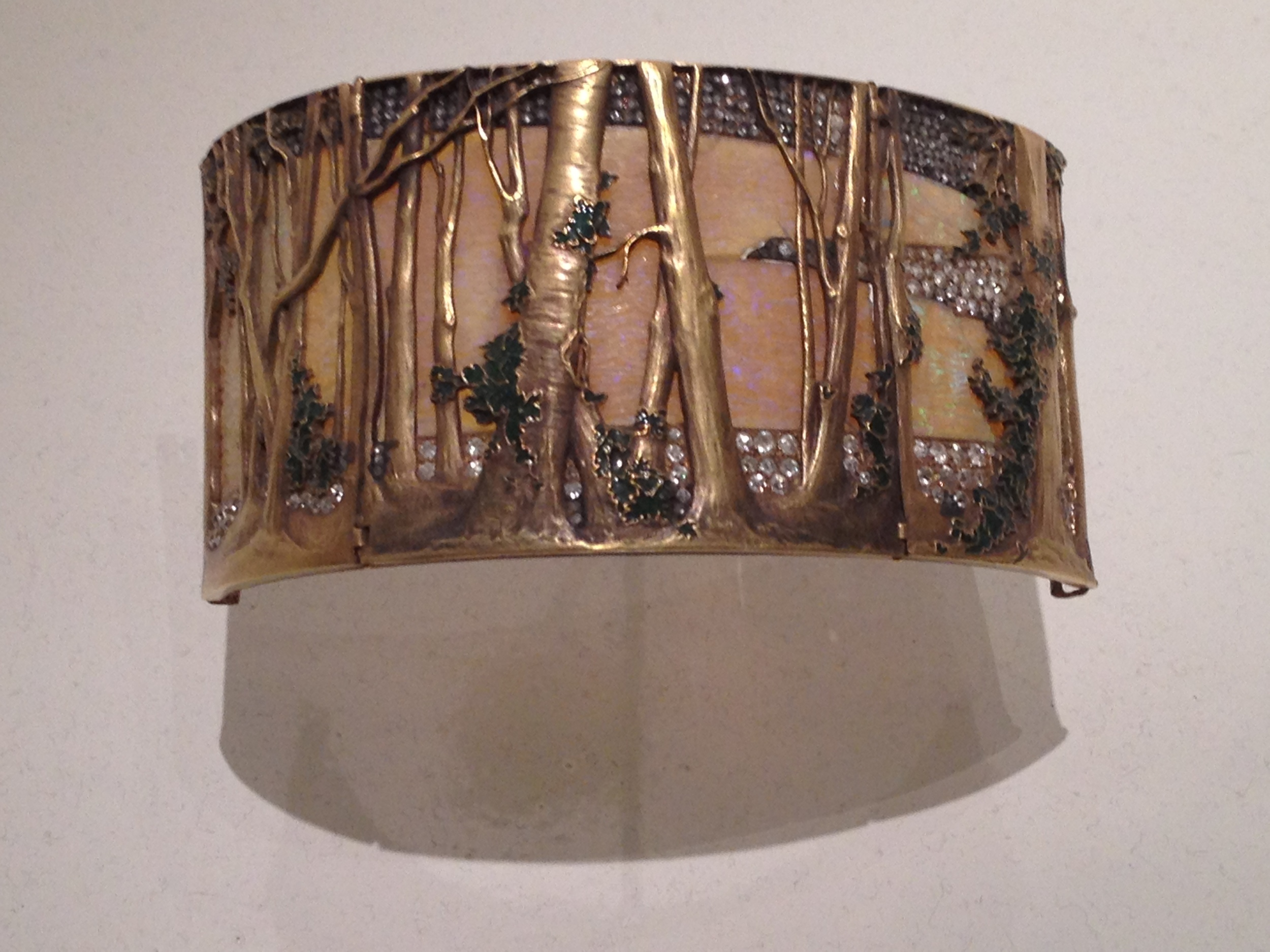 "Rene Lalique ""Wooded Landscape"" choker plaque c. 1898-1899 Gold, opals, enamel and diamonds"