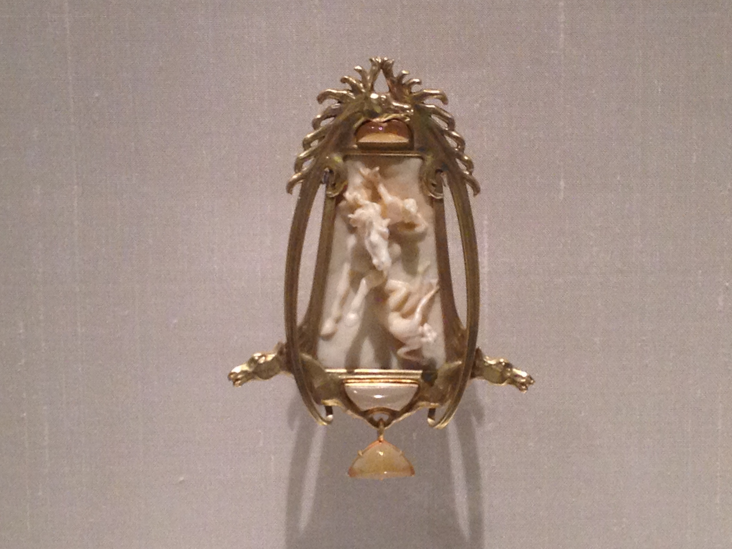 "Rene Lalique ""Horseman"" pendant c 1900-1902 Gold, ivory, enamel and opals"