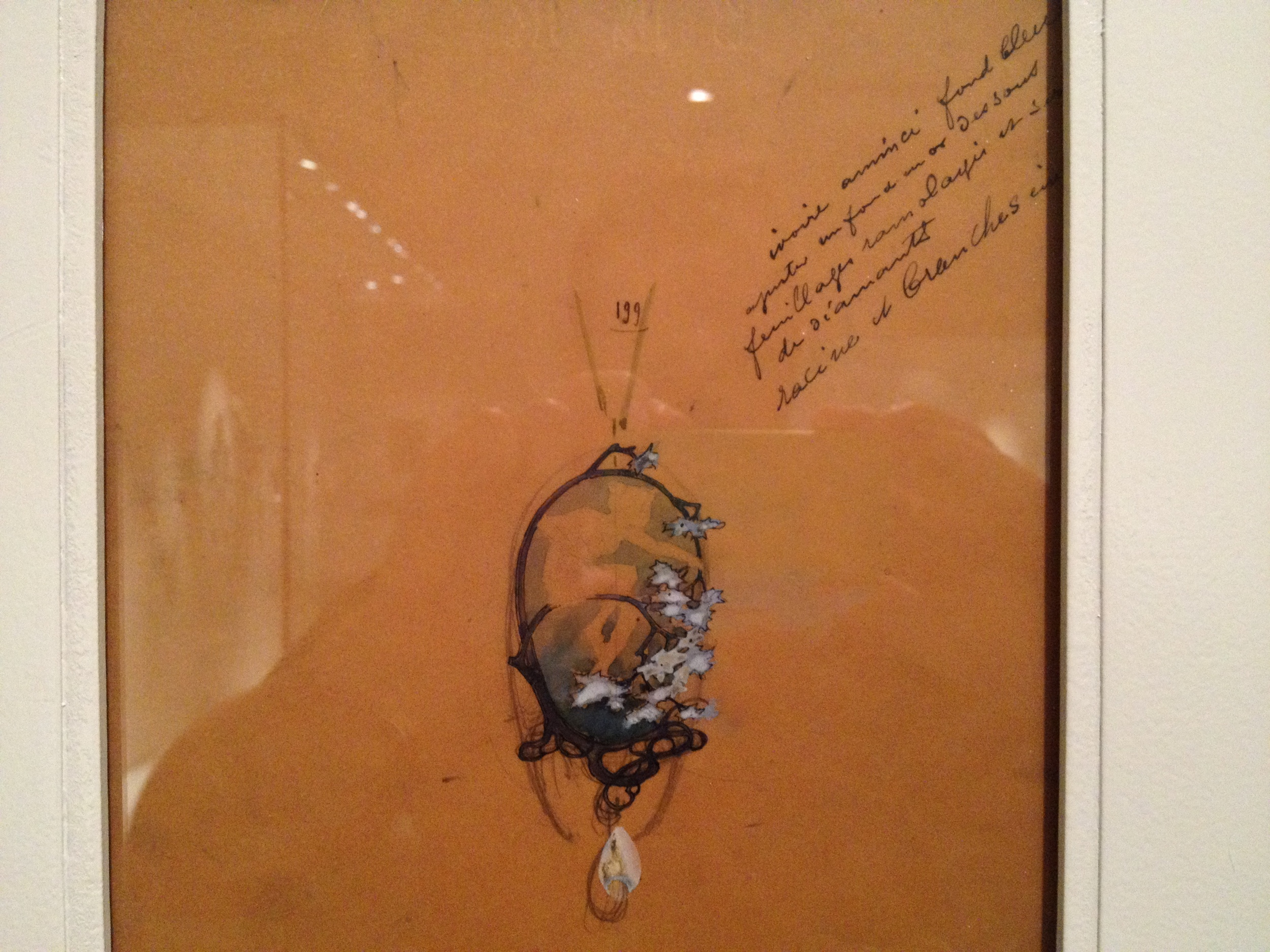 "Rene Lalique Drawing for ""Nymph"" pendant Undated Pencil, India ink and gouache on paper"
