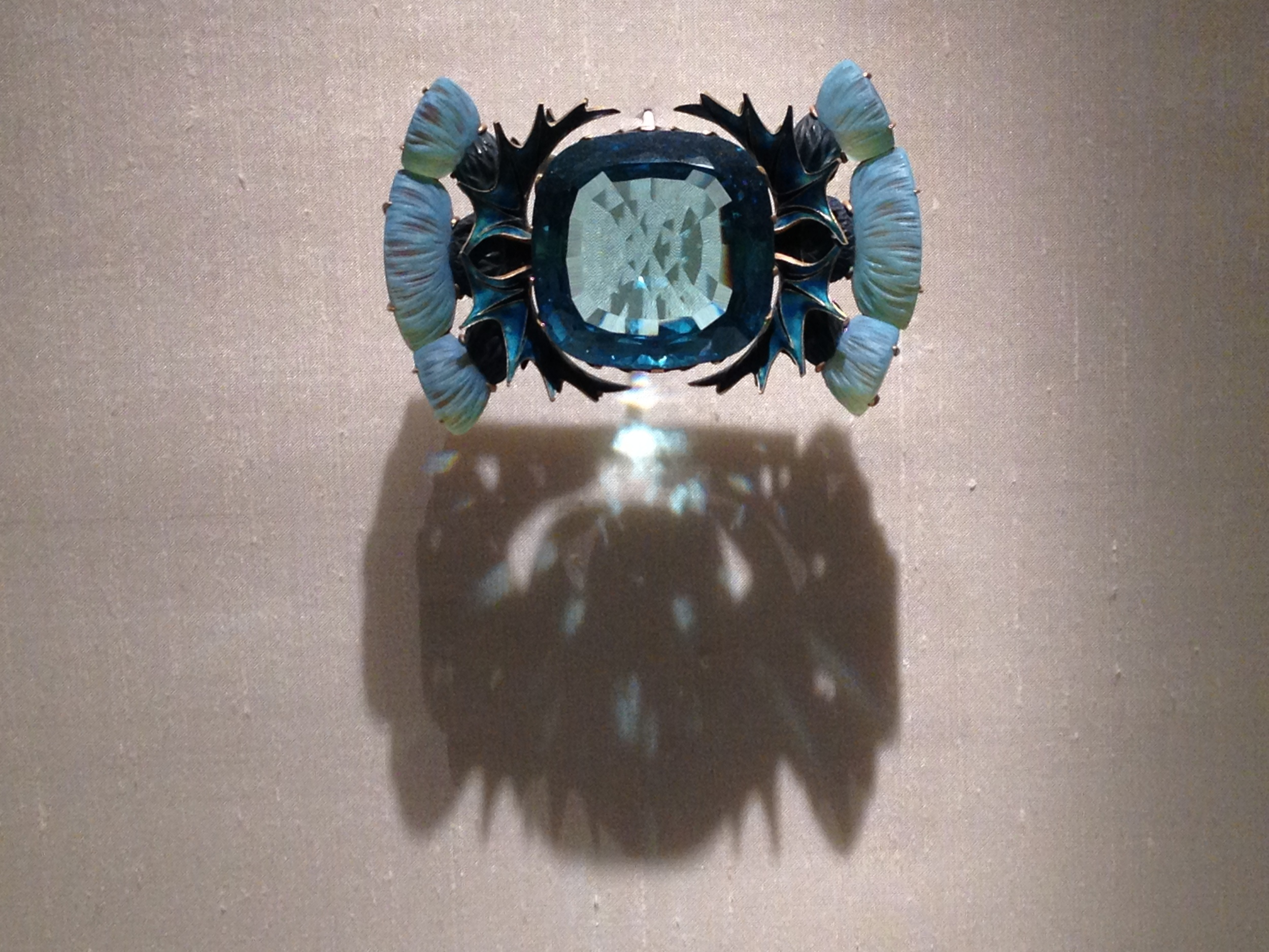 "Rene Lalique ""Aquamarine and Thistle Flowers"" brooch c 1905-1906 Gold, aquamarine, glass and enamel"