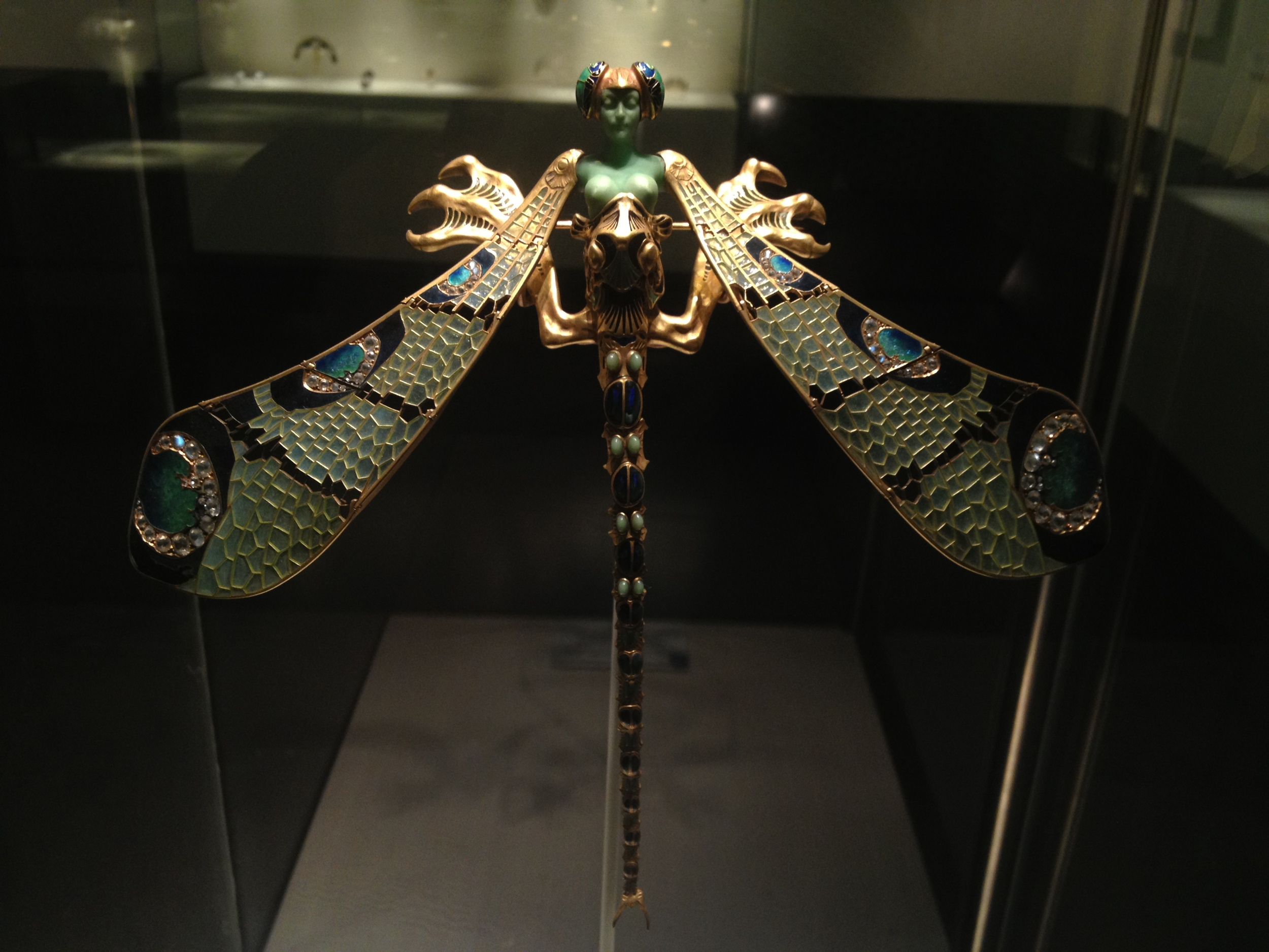 "Rene Lalique ""Dragonfly Woman"" corsage ornament c 1897-1898 Gold, enamel, chrysoprase, chalcedony, moonstones and diamonds"