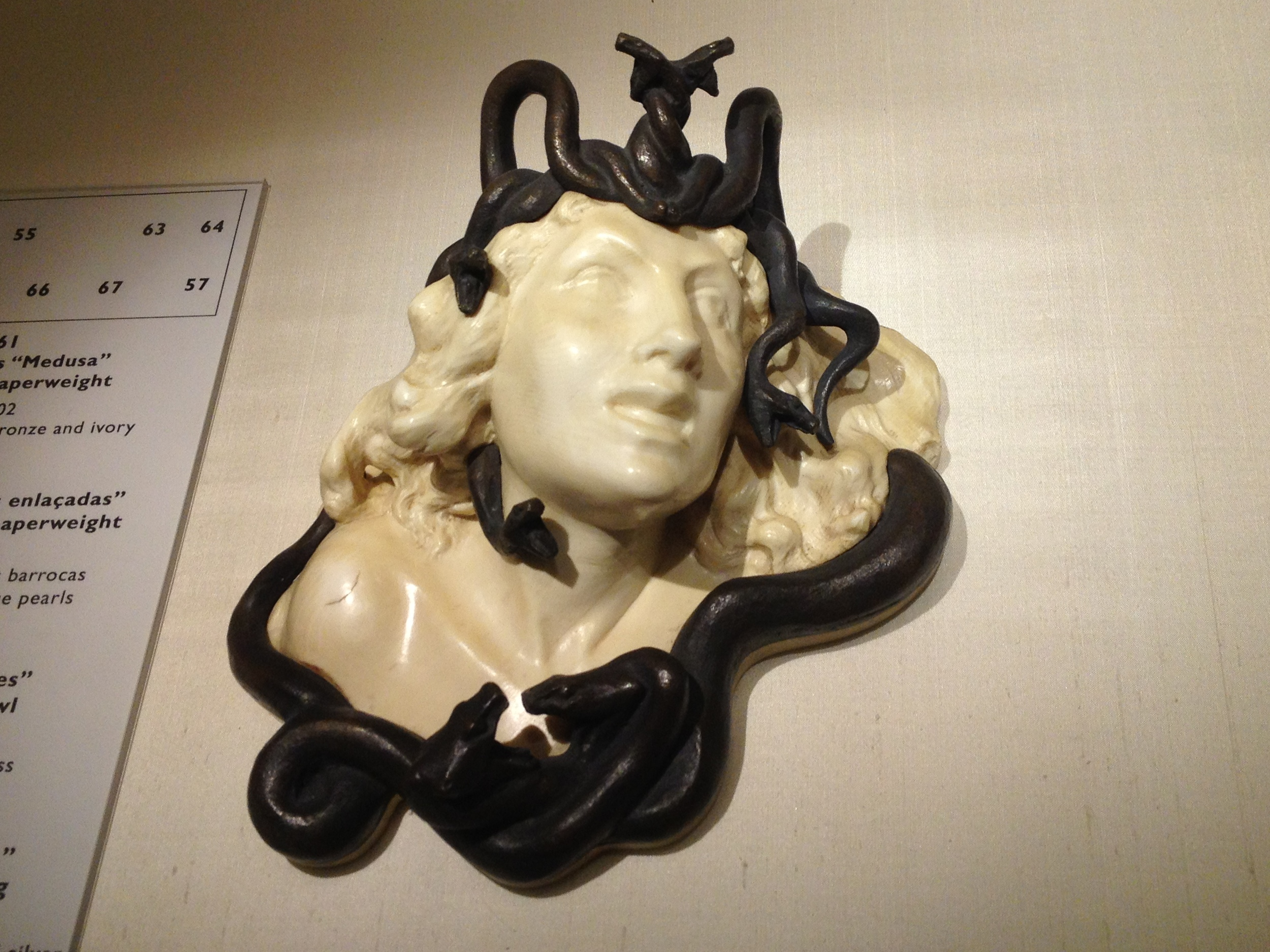 "Rene Lalique ""Medusa"" paperweight c 1902 Bronze and ivory"