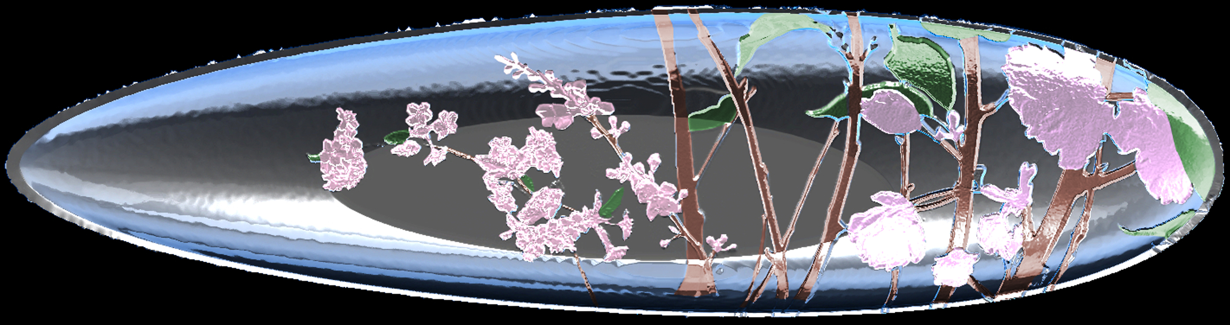 """Jesse Waugh """"Cherry Blossom Platter"""" 2012 Mixed metals and enamel"""