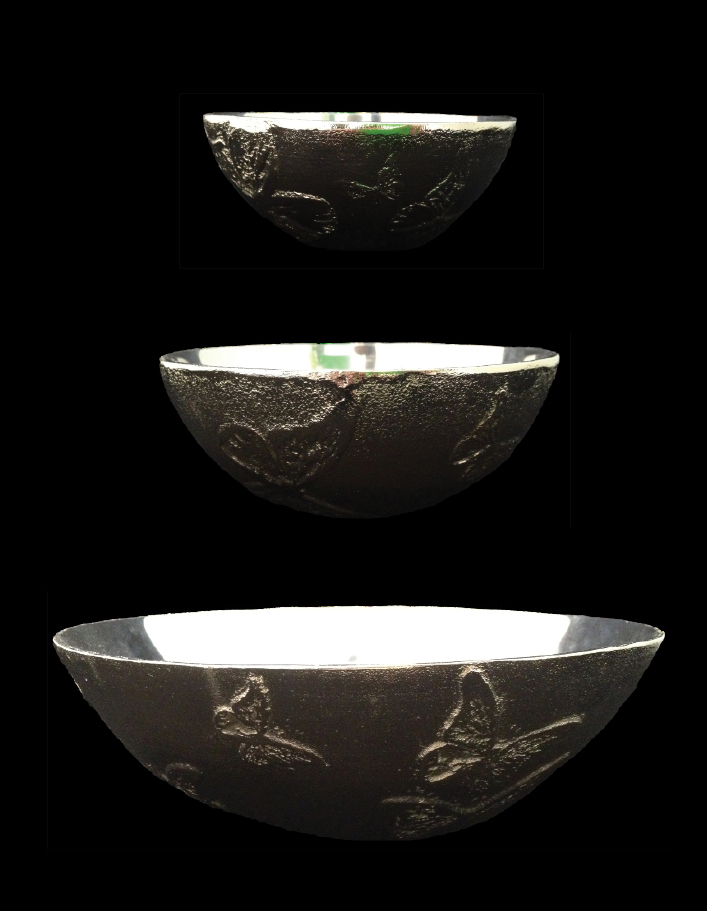 """Jesse Waugh """"Butterfly Bowls"""" 2012 Mixed metals"""
