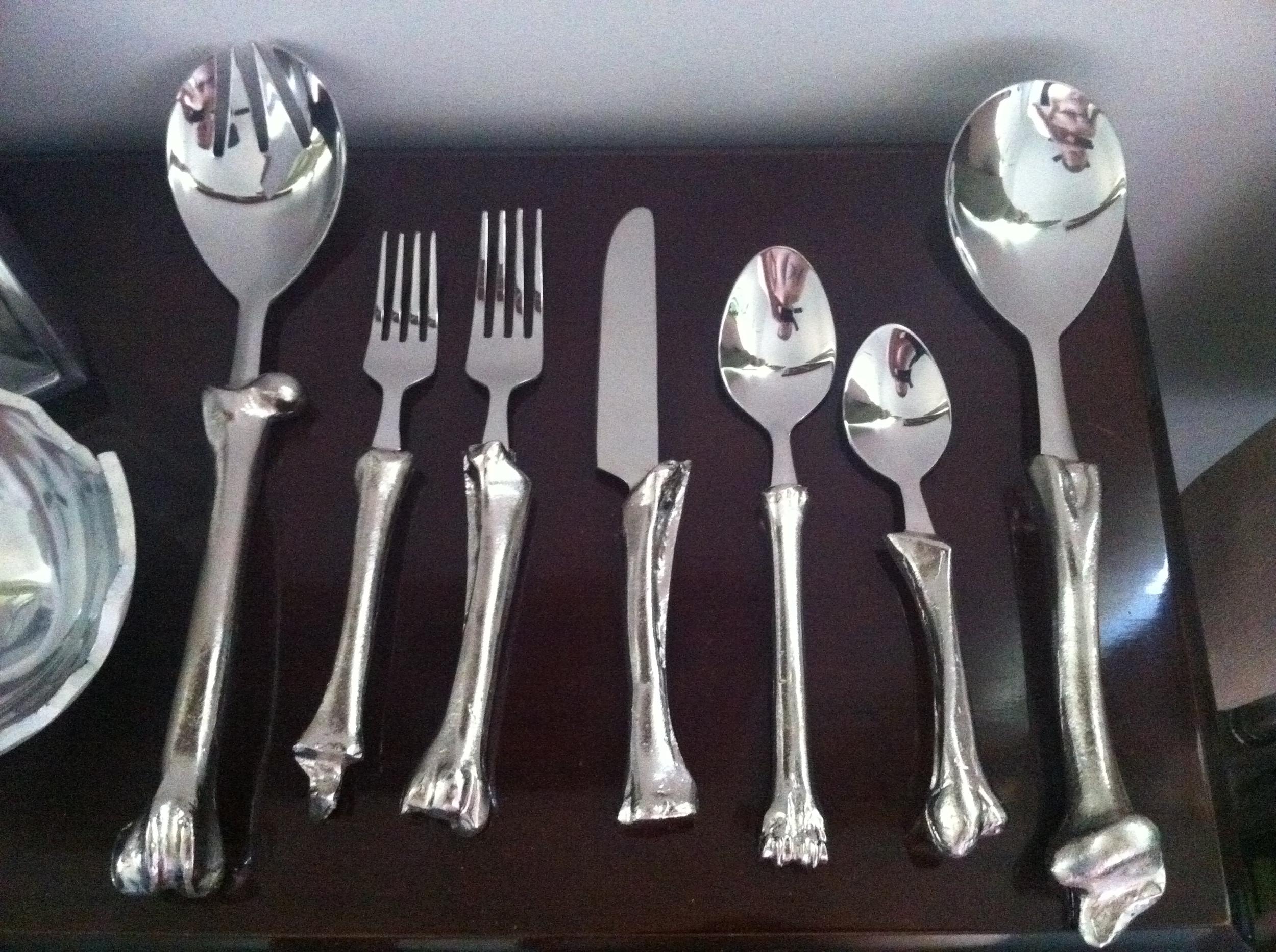 """Jesse Waugh """"Goat Bone Cutlery"""" 2011 Stainless steel"""