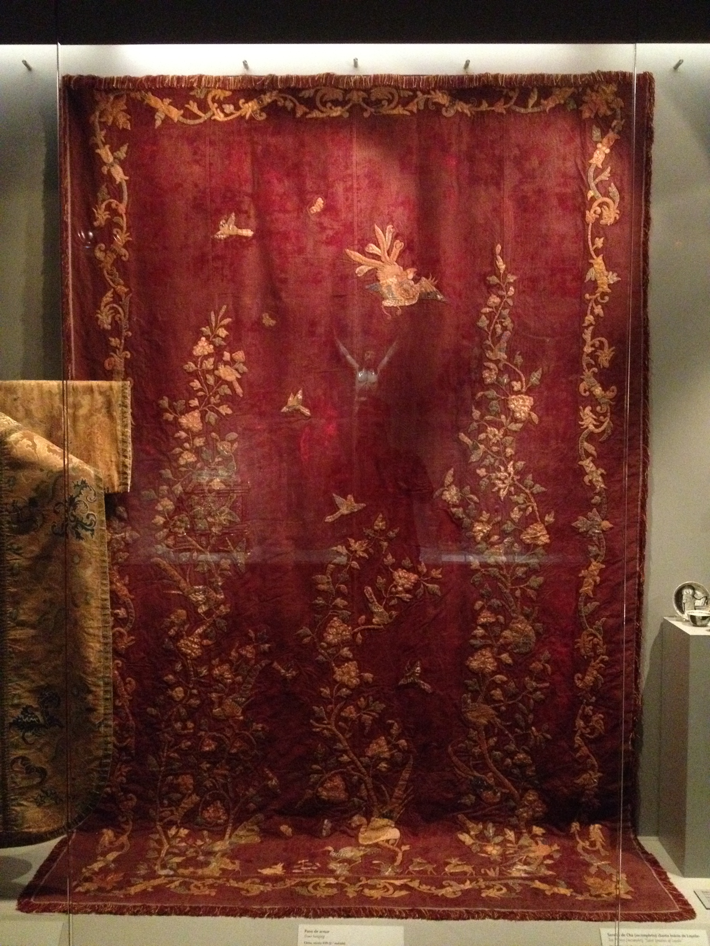 Door hanging China, 2nd half of the 17th century Silk velvet, satin, gold-wrapped thread and polychrome silks