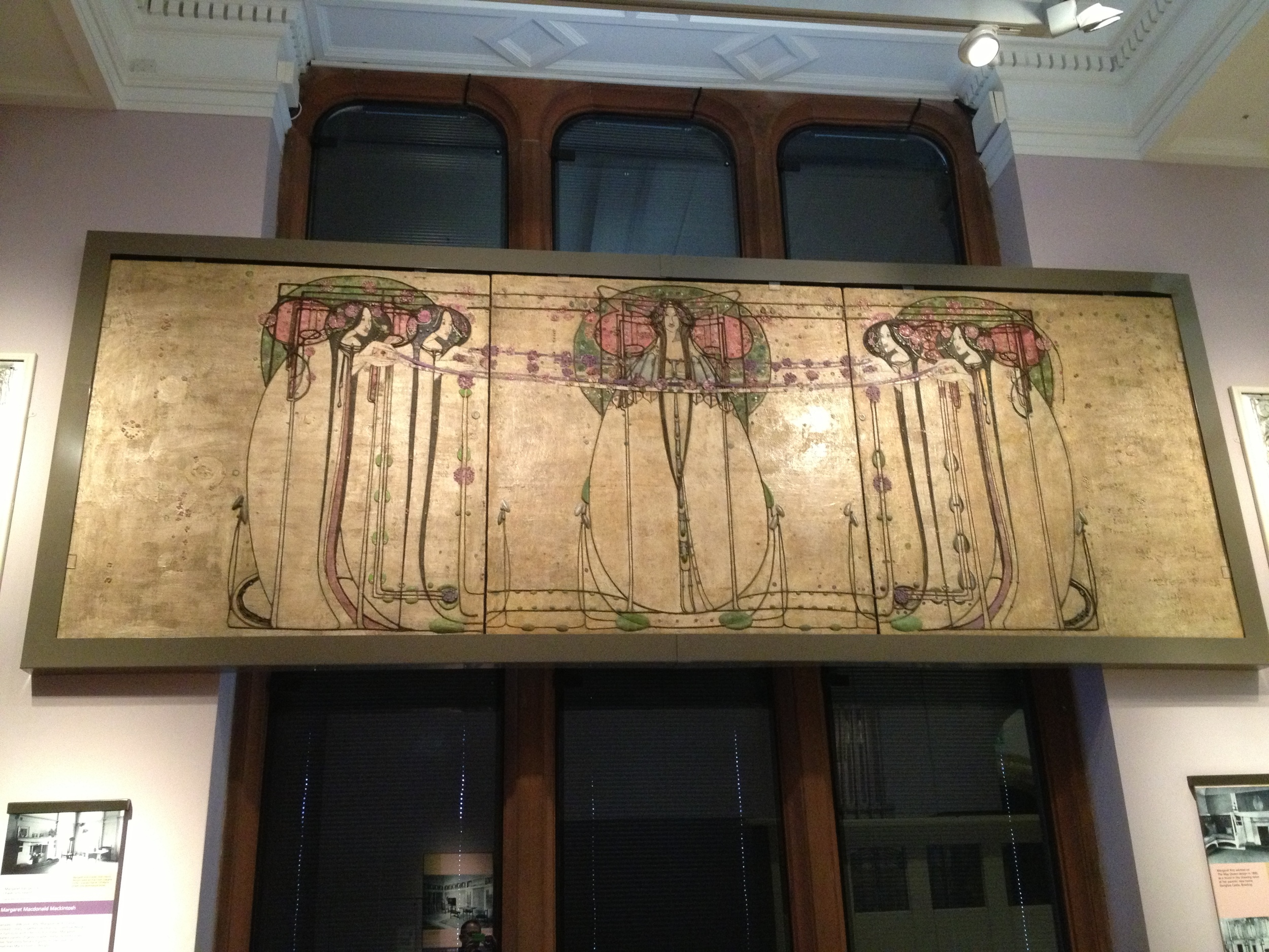 Charles Rennie Mackintosh  The Wassail  1900 Oil painted gesso plaster on hessian and scrim, twine, glass beads, thread, mother-of-pearl, tin leaf