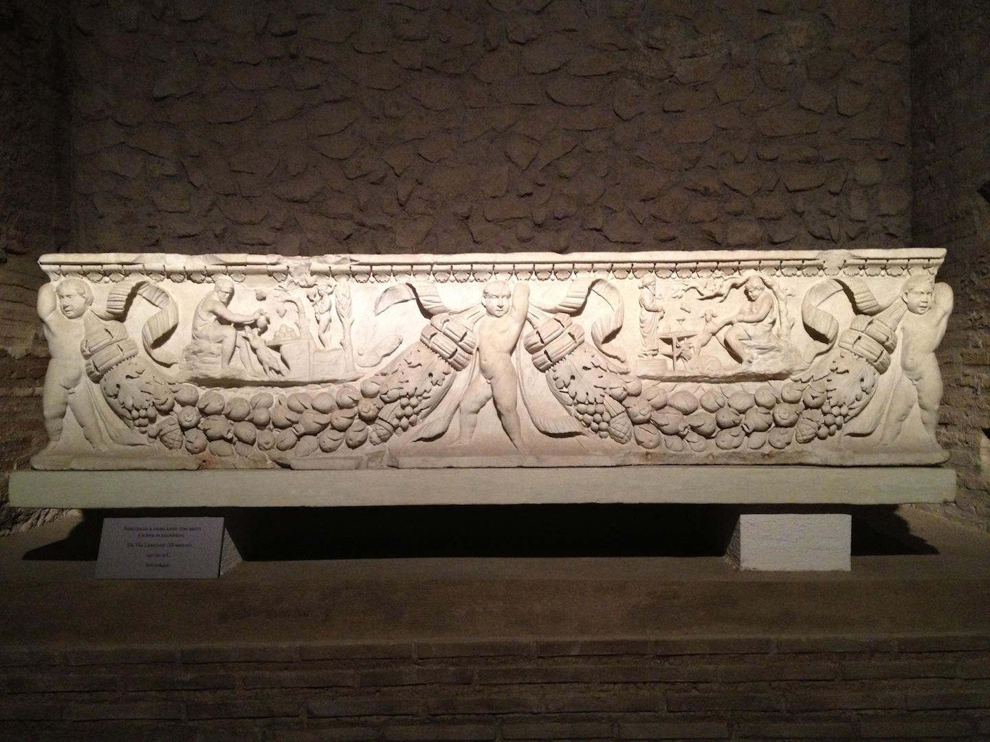 Sarcophagus with Garlands and Erotic Cherubs and Depictions of Animal Sacrifice  from Da Via Labicana 140-150 AD Rome