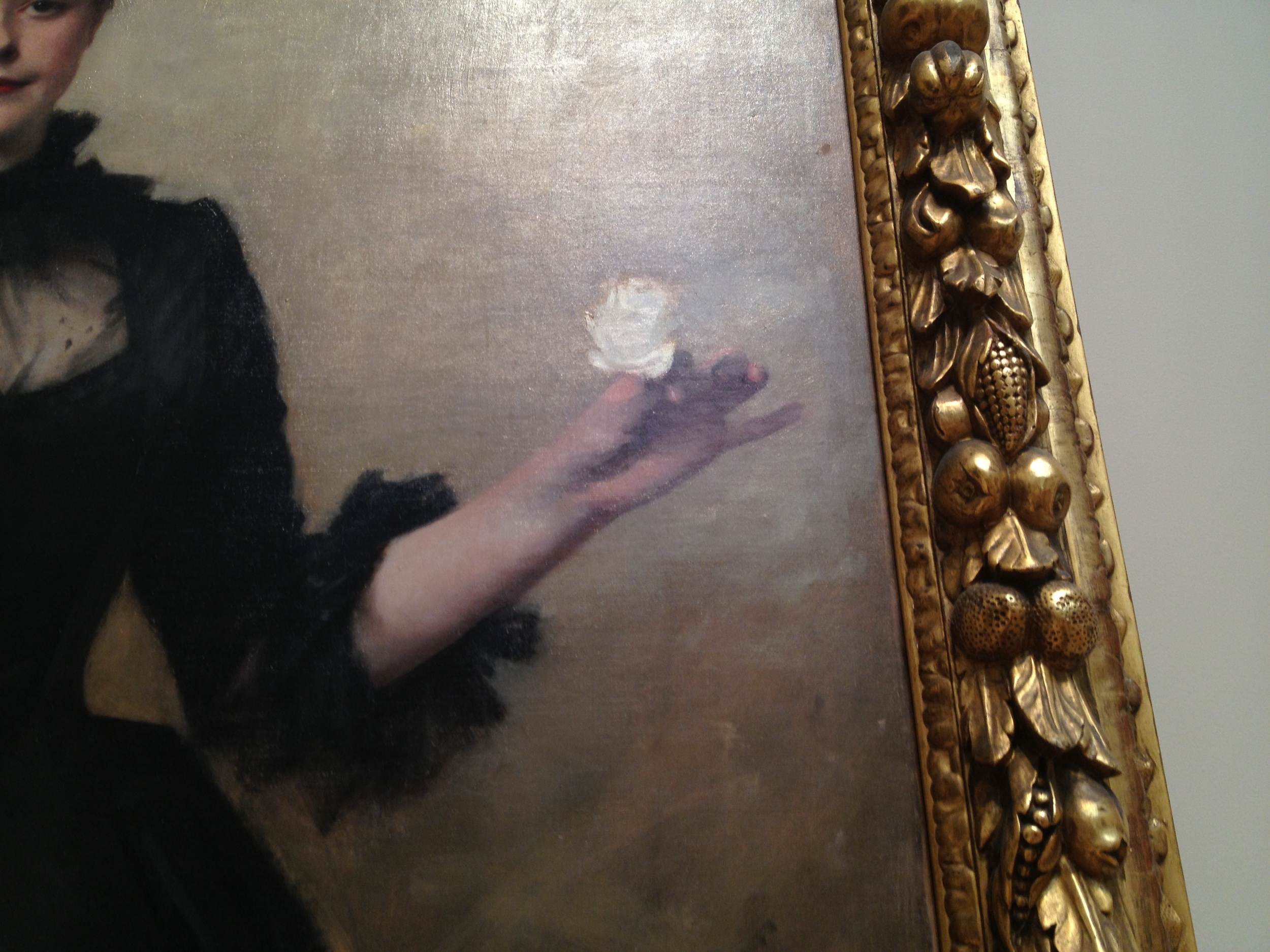 Lady with the Rose  (Charlotte Louise Burckhardt)  detail  John Singer Sargent 1882 Oil on canvas