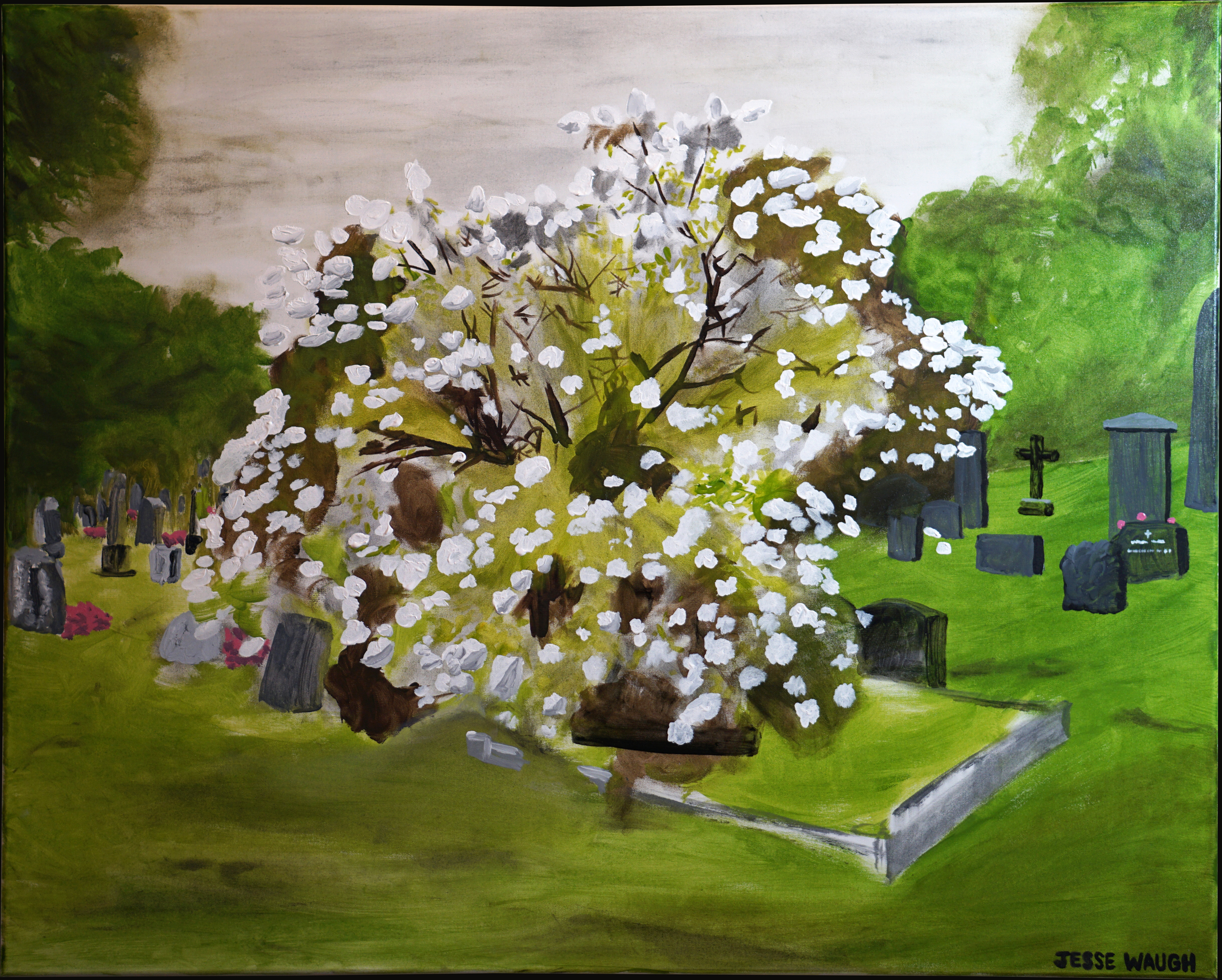 Jesse Waugh   Flowering Tree near Munch's Grave   2014 Oil on canvas