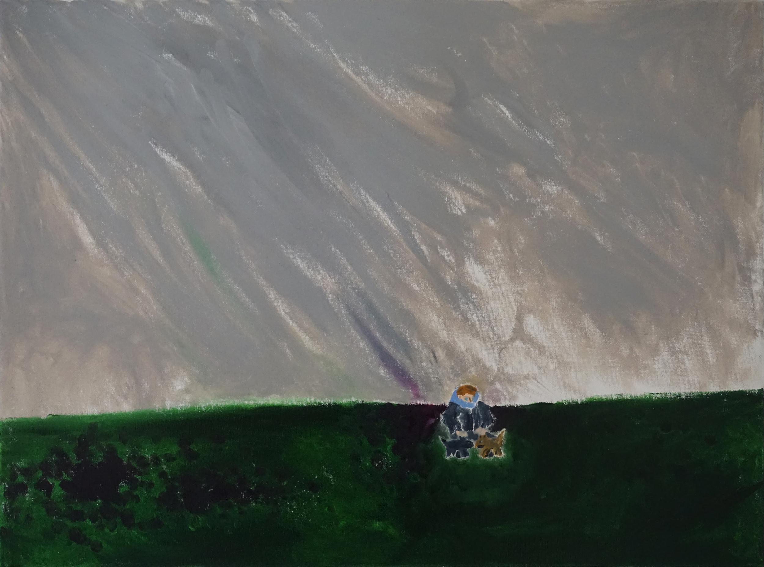 JESSE WAUGH   HAILSTORM ON POMPY HILL   2016 OIL ON CANVAS