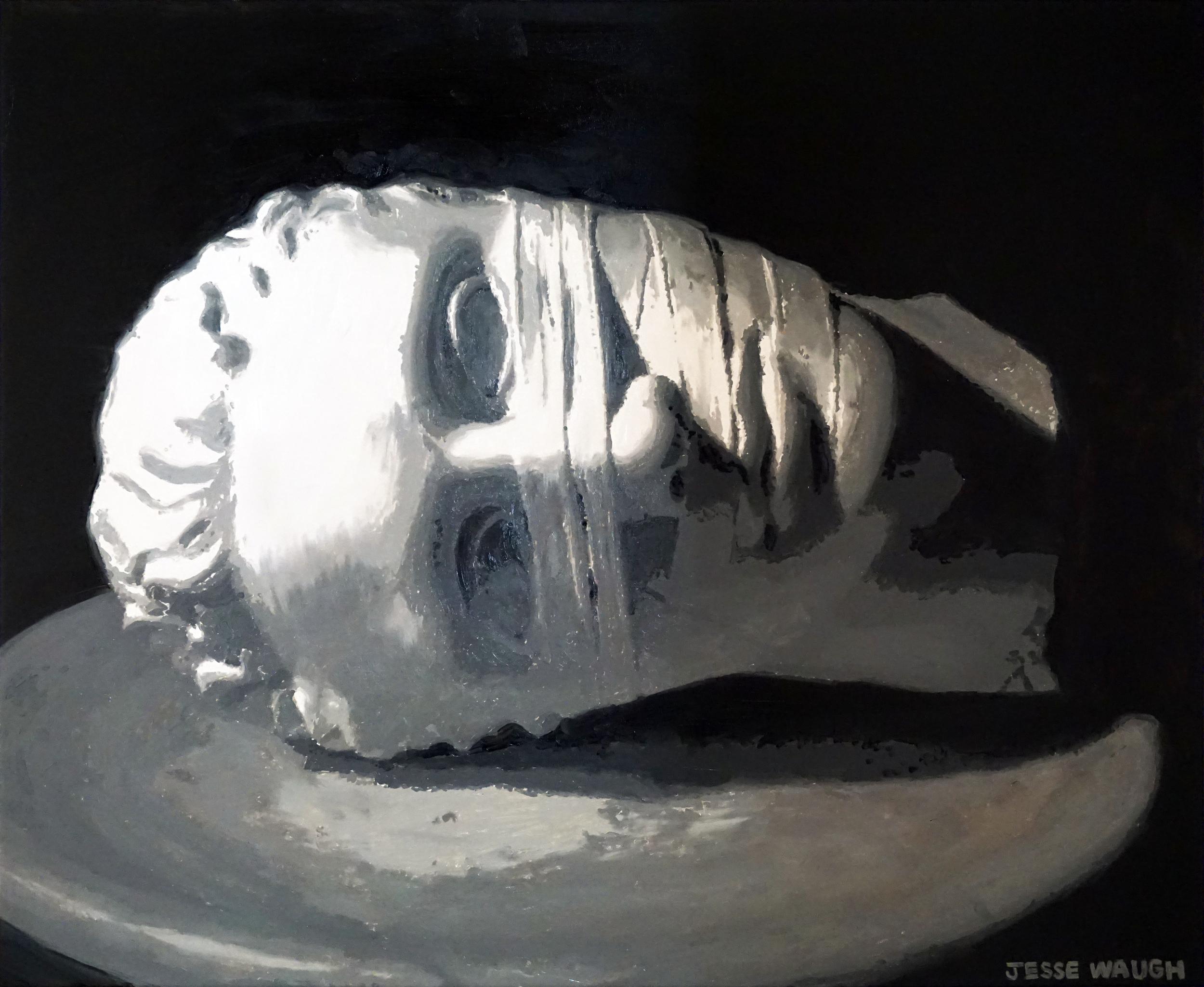 JESSE WAUGH   HEAD OF JOHN THE BAPTIST (AFTER IGOR MITORAJ)   2016 OIL ON CANVAS 73 X 60 CM