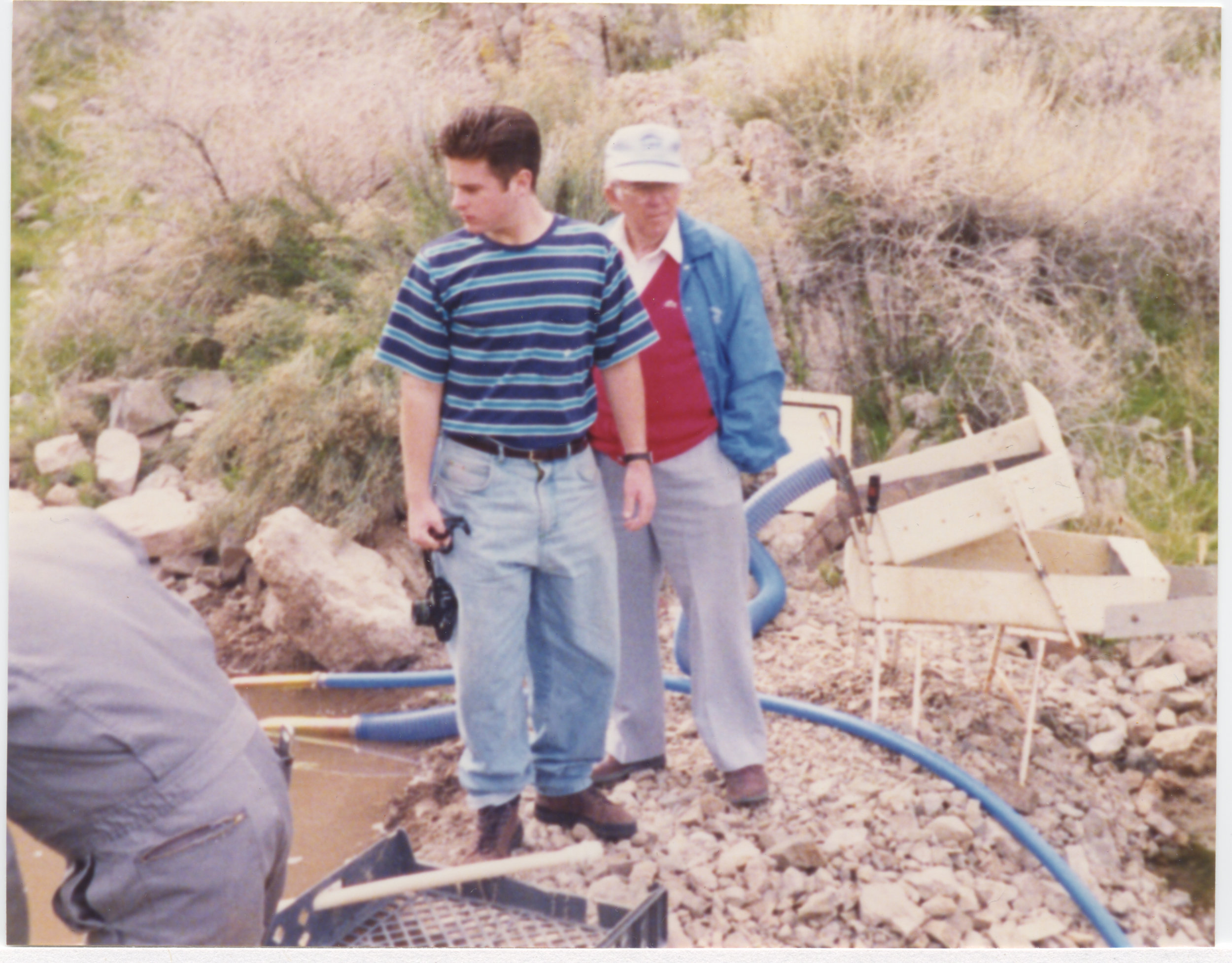 Jesse Waugh with his maternal grandfather Leo Jesse Coleman at a gold mine in Arizona, 1992