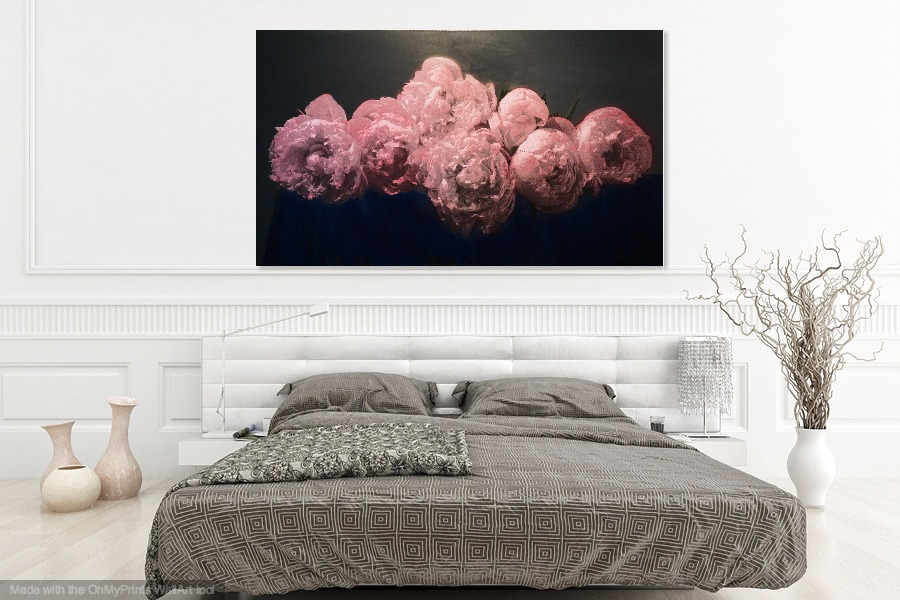 Peonies Faith in suggested environment .    Shown approximate size in virtual environment.