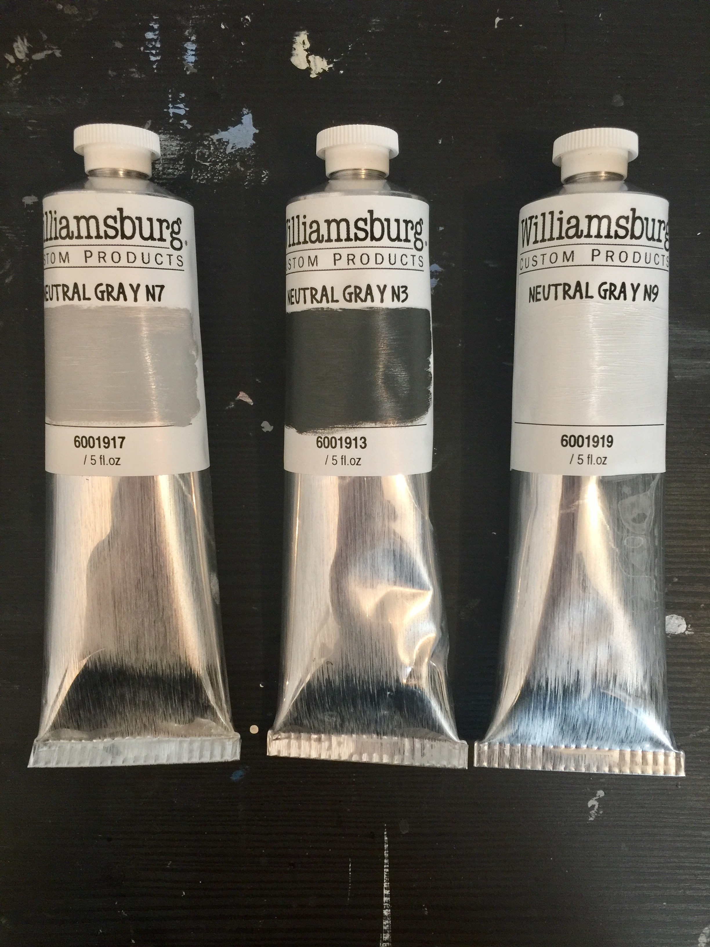 Custom N3, N7 & N9 Munsell Neutral Gray oil paint from Williamsburg Oil Paint