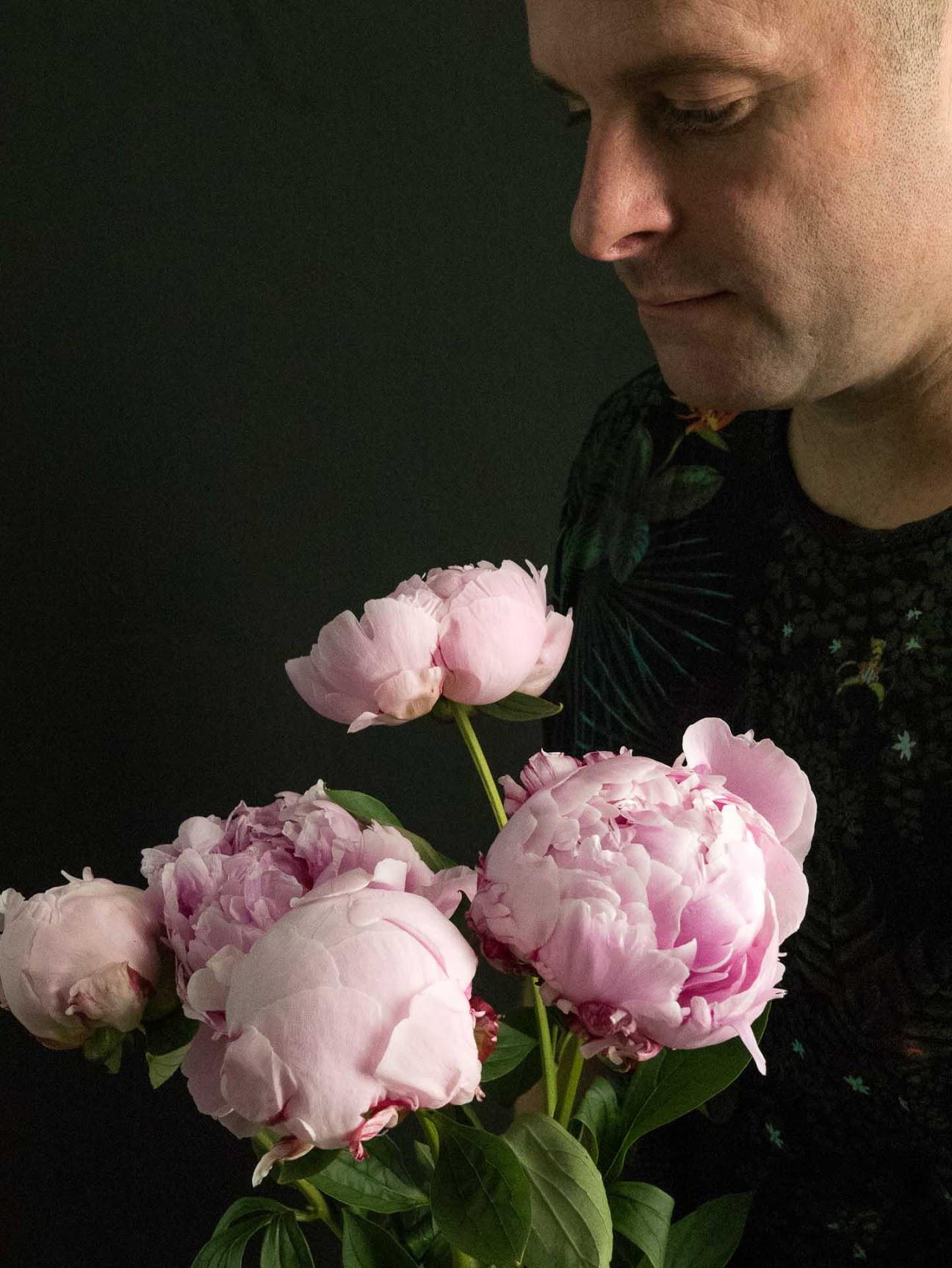 Jesse Waugh with peonies 'Sarah Bernhardt'