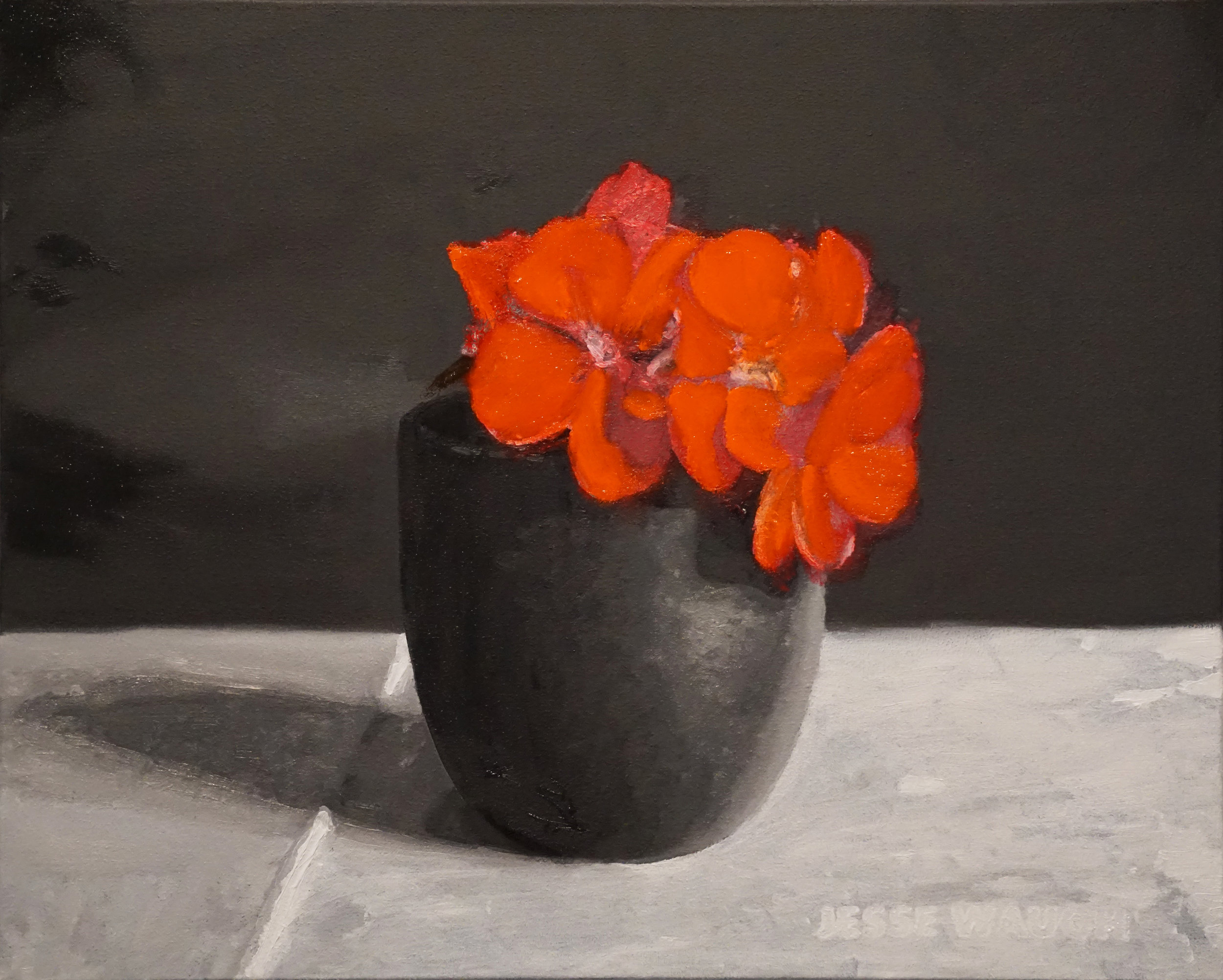 Jesse Waugh   Red Geraniums in a Japanese Teacup   2017 Oil on canvas 41 X 33 cm