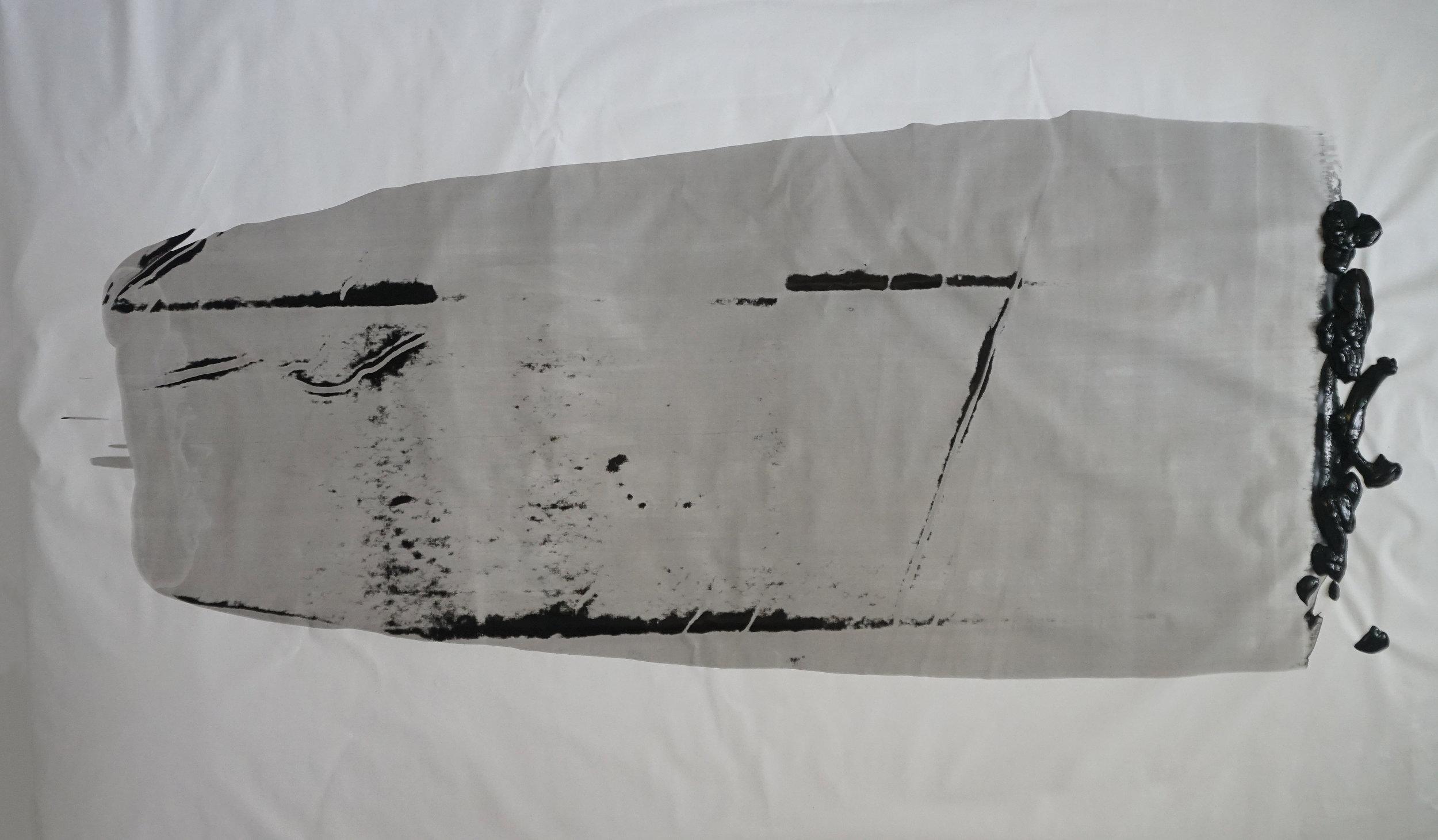 JESSE WAUGH   DEATH MAKES THE MARKET   2018 ACRAMINE ON CANVAS 195 X 114 CM