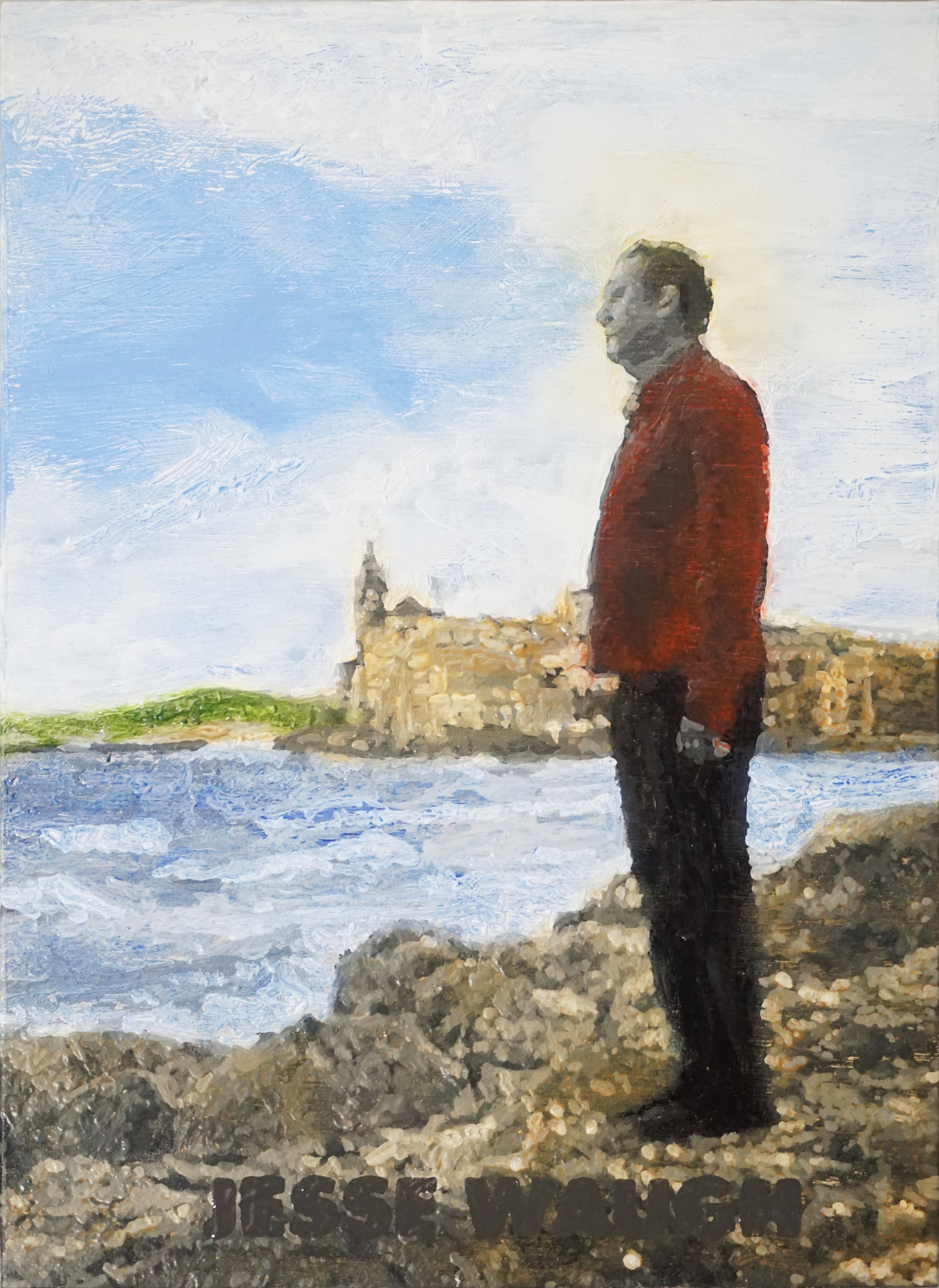 JESSE WAUGH   KEITH WILLIAMSON AT SITGES   2017 OIL ON CANVAS 22 X 16 X 4 CM